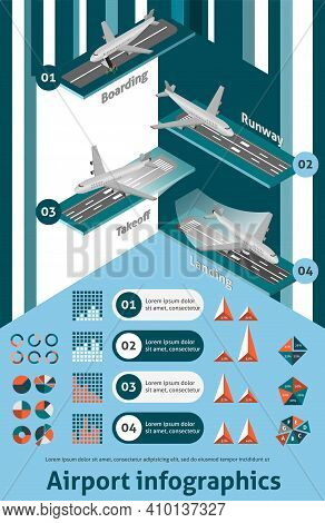 Airport Infographic Set With Isometric Boarding Runway Takeoff Landing Elements And Charts Vector Il