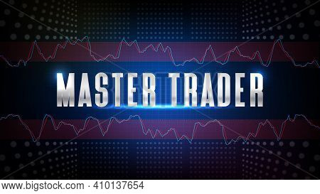 Abstract Background Of Blue Futuristic Technology Glowing Master Trader Text With Stochastic Oscilla