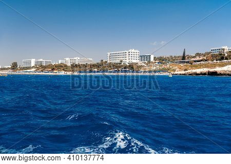 Coastline Of Agia Napa, Cyprus With Hotels And Beaches