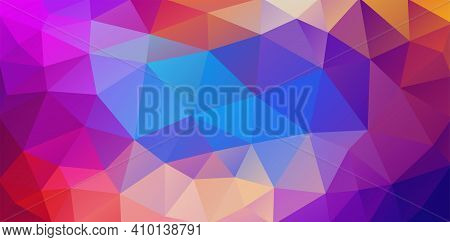 Bright Colored Flat Background With Triangles For Web Design. Triangles Of Orange, Purple, Red And B