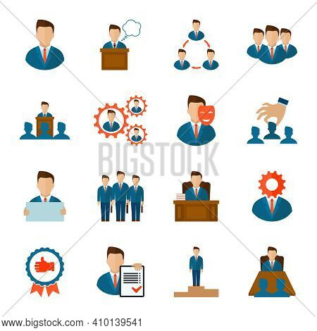 Executive Employee People Management Corporate Team Flat Icons Set Isolated Vector Illustration