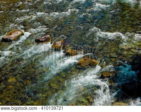 River Rocks In A Row - A Summertime Scene On The Clackamas River By River Ford Campground - Southeas