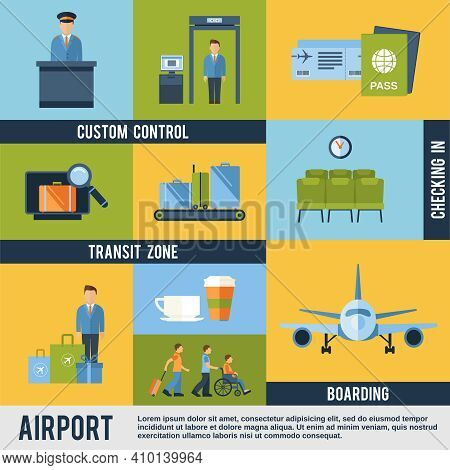 Airport Icons Decorative Set With Custom Control Transit Zone Boarding Checking In Isolated Vector I