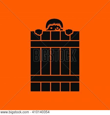 Criminal Peeping From Fence Icon. Black On Orange Background. Vector Illustration.