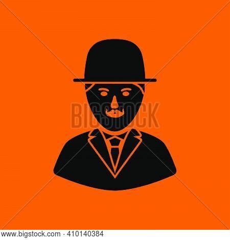 Detective Icon. Black On Orange Background. Vector Illustration.
