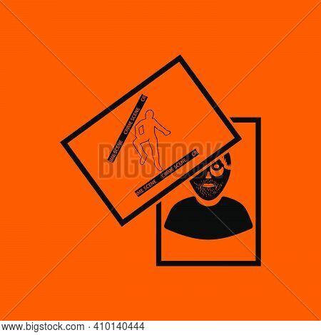 Photograph Evidence Icon. Black On Orange Background. Vector Illustration.