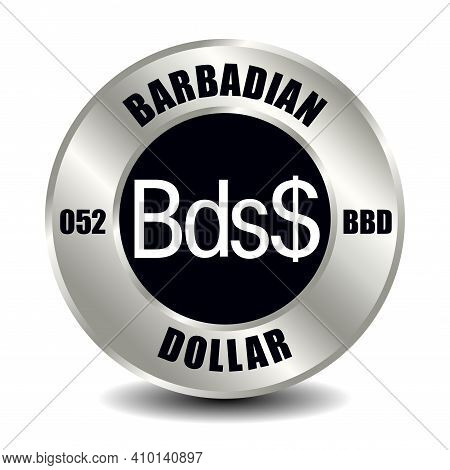 Barbados Money Icon Isolated On Round Silver Coin. Vector Sign Of Currency Symbol With International