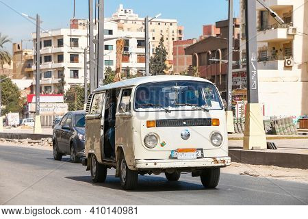 Cairo, Egypt - January 26, 2021: Fixed Route Taxi Volkswagen Kombi T2 In The City Street.