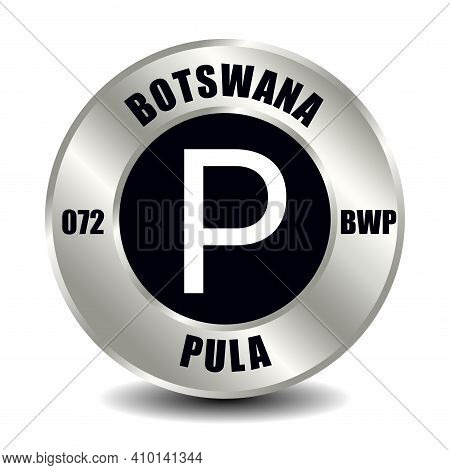 Botswana Money Icon Isolated On Round Silver Coin. Vector Sign Of Currency Symbol With International
