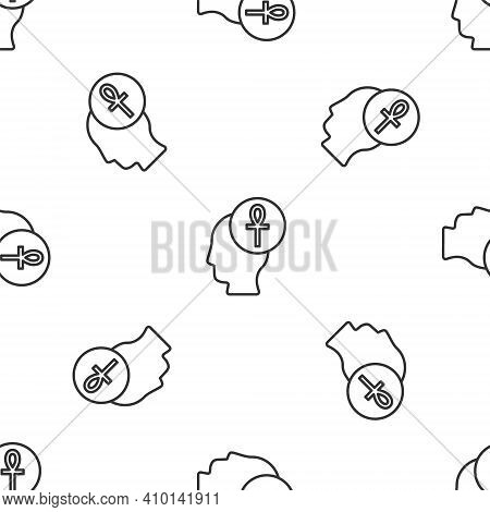 Grey Line Cross Ankh Icon Isolated Seamless Pattern On White Background. Vector