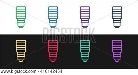Set Line Led Light Bulb Icon Isolated On Black And White Background. Economical Led Illuminated Ligh