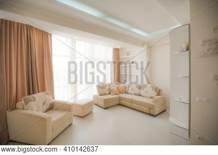 The Interior Of A Modern Apartment After Renovation. Presentation Of The Apartment In Light Warm Ton
