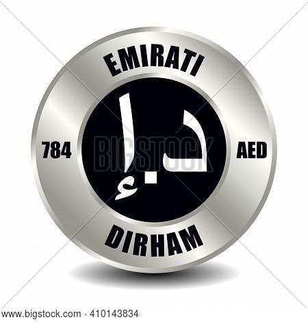 Uae, Emirates Money Icon Isolated On Round Silver Coin. Vector Sign Of Currency Symbol With Internat