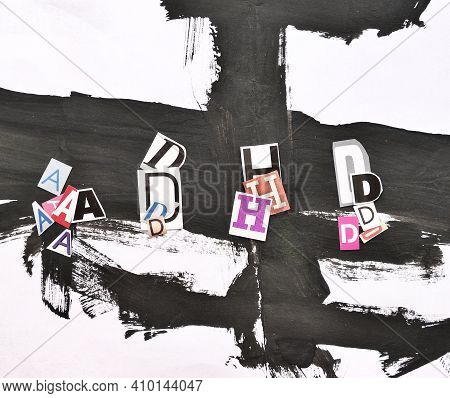 Adhd. Abbreviation Adhd From Lot Of Paper Letters . Chaotic Black Stripes Background. Adhd Is Attent