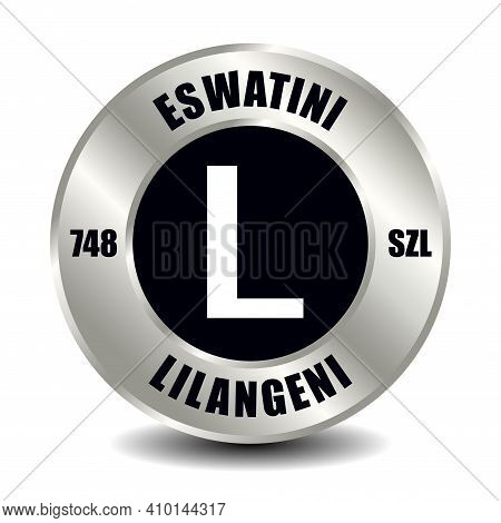 Eswatini Money Icon Isolated On Round Silver Coin. Vector Sign Of Currency Symbol With International