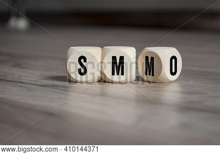 Cubes, Dice Or Blocks With Acronym Smo Social Media Optimization And Smm Social Media Marketing On W