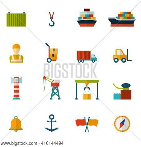 Seaport Flat Icon Set With Container Tanker Vessel Loader Isolated Vector Illustration