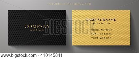 Business Card With Luxury Abstract Black And Gold Triangle Pattern (carbon Texture). Formal Premium