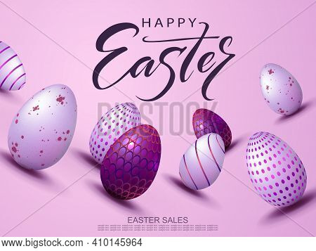 Easter Light Design With A Purple Gradient, Eggs With A Beautiful Pattern Drawn Obliquely