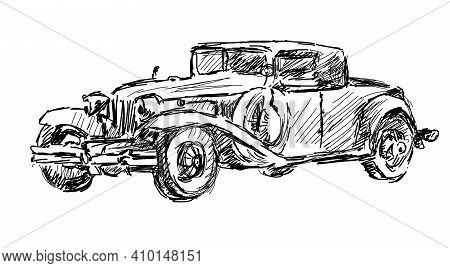 Vintage Car. A Black And White Graphic Auto Of The Early 20th Century. Beautiful Print On A T-shirt,