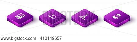 Set Isometric Portrait In Museum, French Beret, Eiffel Tower And Press Icon. Vector
