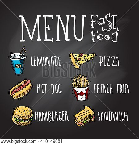 Fast Food Menu Chalkboard Decorative Icons Set With Lemonade Hot Dog Hamburger Pizza French Fries Ha