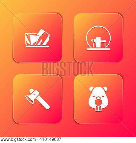 Set Royal Ontario Museum, Montreal Biosphere, Wooden Axe And Beaver Animal Icon. Vector