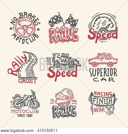 Racing Superior Car Rally Circuit Sketch Emblems Set Isolated Vector Illustration