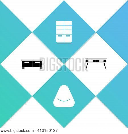 Set Chest Of Drawers, Pouf, Wardrobe And Office Desk Icon. Vector