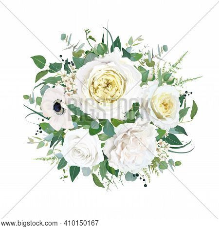Floral Elegant Wedding Round Bouquet Vector Watercolor Editable Illustration. Tender Cream Yellow Ca