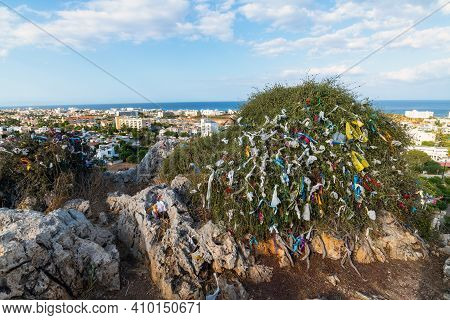 Tree With Colored Ribbons Of Wishes Near Church Of The Prophet Elijah In Protaras, Republic Of Cypru