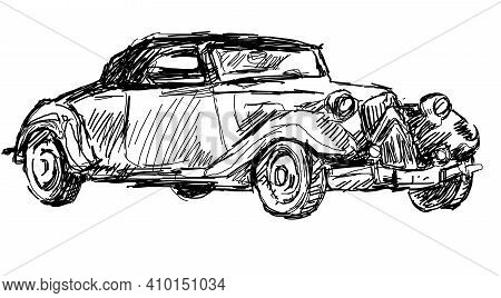 Vintage Car. A Black And White Graphic Auto Of The 20th Century. Beautiful Print On A T-shirt, For E