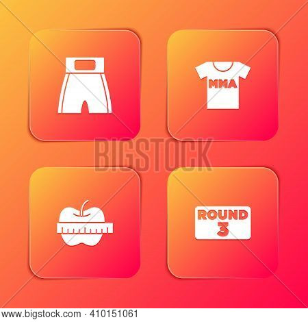 Set Boxing Short, T-shirt With Fight Club Mma, Apple And Measuring Tape And Board Icon. Vector