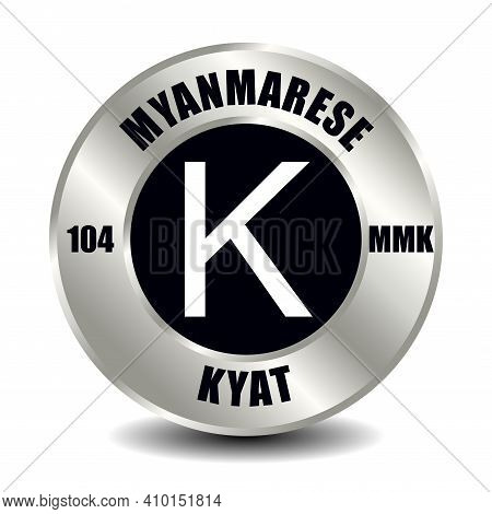 Myanmar, Burma Money Icon Isolated On Round Silver Coin. Vector Sign Of Currency Symbol With Interna