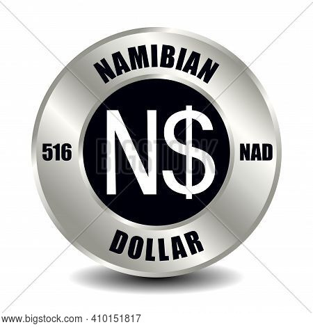 Namibia Money Icon Isolated On Round Silver Coin. Vector Sign Of Currency Symbol With International