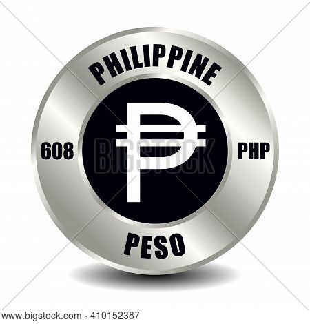 Philippine Money Icon Isolated On Round Silver Coin. Vector Sign Of Currency Symbol With Internation
