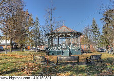 Elmira, Ontario/canada - October 20, 2020:  The Gore Park In Elmira, Ontario, Canada With Gazebo On