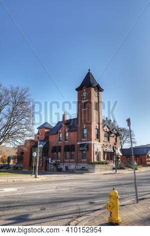 Elmira, Ontario/canada - October 20, 2020:  Vertical Of Elmira, Ontario, Canada Old City Hall With C