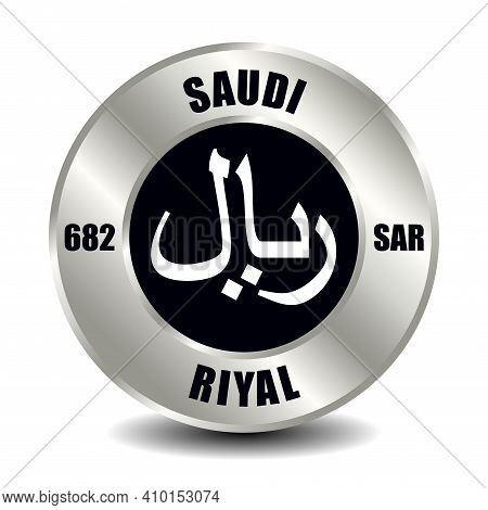 Saudi Arabia Money Icon Isolated On Round Silver Coin. Vector Sign Of Currency Symbol With Internati