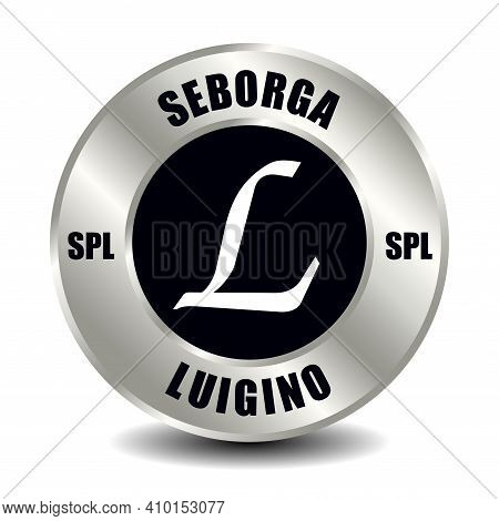 Seborga Money Icon Isolated On Round Silver Coin. Vector Sign Of Currency Symbol With International