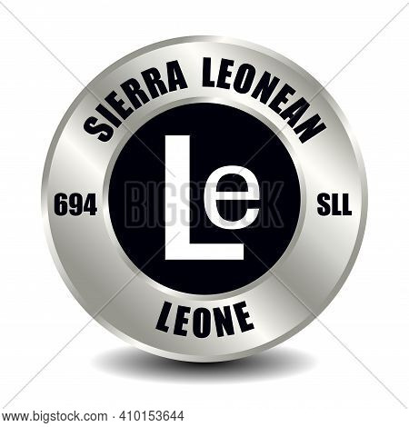 Sierra Leone Money Icon Isolated On Round Silver Coin. Vector Sign Of Currency Symbol With Internati