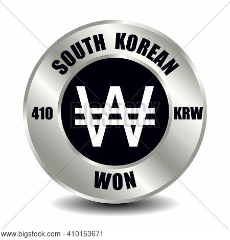 South Korea Money Icon Isolated On Round Silver Coin. Vector Sign Of Currency Symbol With Internatio