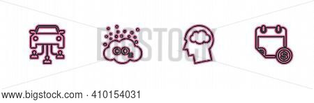 Set Line Car Sharing, Head Silhouette With Cloud, Co2 Emissions And Financial Calendar Icon. Vector