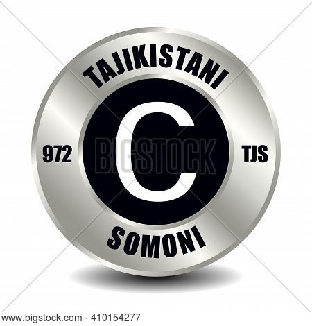 Tajikistan Money Icon Isolated On Round Silver Coin. Vector Sign Of Currency Symbol With Internation