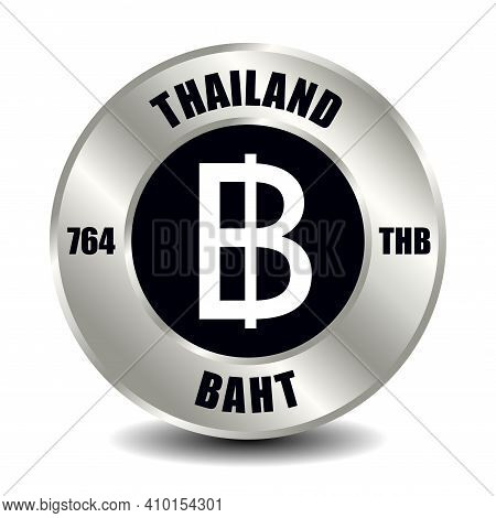 Thailand Money Icon Isolated On Round Silver Coin. Vector Sign Of Currency Symbol With International