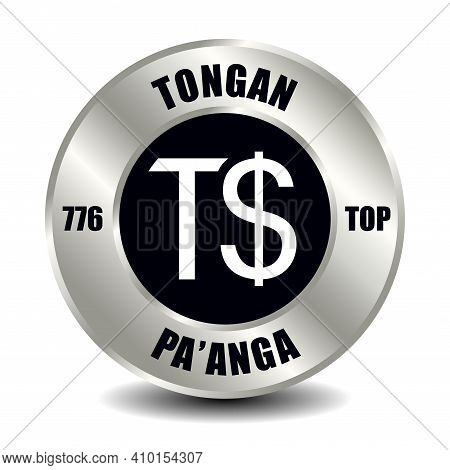 Tonga Money Icon Isolated On Round Silver Coin. Vector Sign Of Currency Symbol With International Is