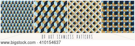 Set Of Seamless Geometric Op Art Patterns. Abstract Background Set. 3d Geometric Design.