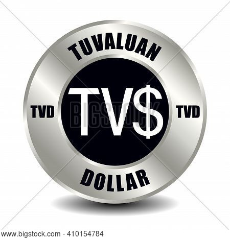 Tuvalu Money Icon Isolated On Round Silver Coin. Vector Sign Of Currency Symbol With International I