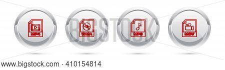Set Line Mp4 File Document, Wma, Mp3 And Mov. Silver Circle Button. Vector