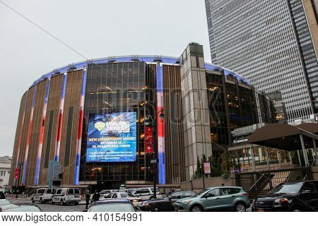 NEW YORK, NY - NOVEMBER 05, 2014:   Madison Square Gaeden in New York City  with evening lights